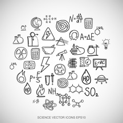 Black doodles Hand Drawn Science Icons set on White. EPS10 vector illustration.