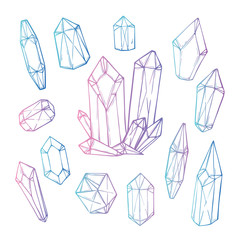 Hand drawn vector illustration - Set of geometric crystals and m