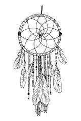 Hand drawn illustration - Dream catcher. Tribal design element.