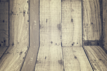 Perspective old wood wall texture background.