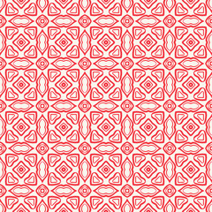 vector red pink abstract damask seamless pattern on white background