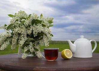 чайник и букет черемухи на фоне зеленой травы и неба