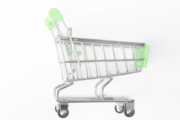 Empty shopping cart on isolated background.