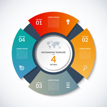 Vector circle template for infographics. Business concept with 4 options, steps, parts, segments