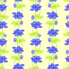 Hand drawn background of Beautiful lotus flowers and leaves.