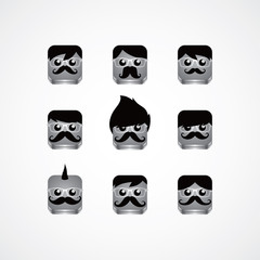 geek guy avatar portrait set