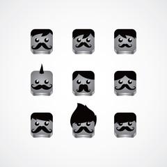 male avatar portrait set