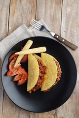 Tacos with chili con carne