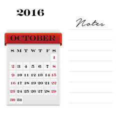 October Calendar with notes