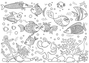 Coloring of underwater world. Aquarium with fish, octopus, corals, anchor, shells, stones, bottle with sailboat.