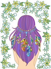 Girl with feathers in her hair and floral pattern, hippie style, line art. Vecror.