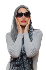 young stylish  woman posing, retro styling