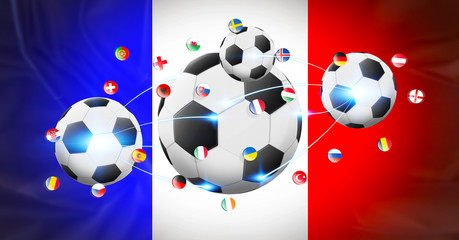 Football connected to each other with european flags