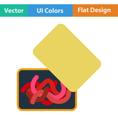 Flat design icon of worm container