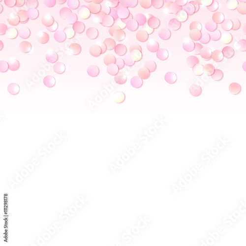 Seamless Border Of Pink Realistic Confetti Design Template For Gift Certificate Voucher