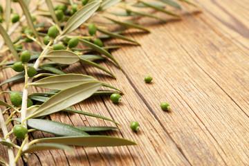 Fototapete - Rami di ulivo con olive verdi in crescita