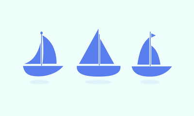 Sailboat icons on the blue background