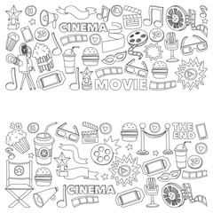 Cinema icons set. Cinema pattern. Cinema icons. Cinema background. Cinema set vector. Cinema set eps. Cinema texture. Cinema set. Filmmaking and movie hand drawn images.