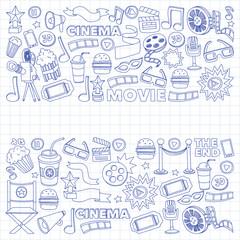 Cinema icons set. Cinema pattern. Cinema icons. Cinema background. Cinema set vector. Cinema set eps. Cinema texture. Cinema set. Filmmaking and movie hand drawn images.