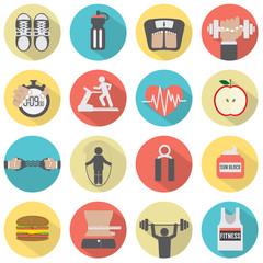 Modern Flat Design Fitness icon Set.