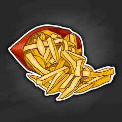 french fry color picture sticker