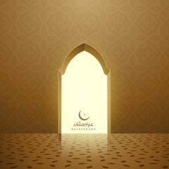 golden mosque interior with door