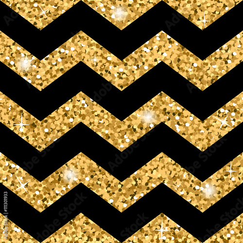Zigzag Seamless Pattern Gold Glitter And Black Template Abstract Geometric Texture Golden Zig