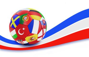 Fußball mit Nationalflaggen auf Tricolore