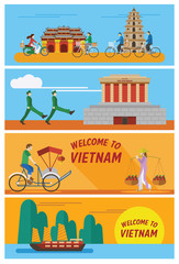 Flat design, illustration of Vietnam icons and landmarks