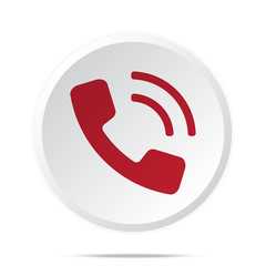 Red Phone icon on white web button