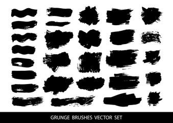 Set of black paint, ink brush strokes.Vector illustration