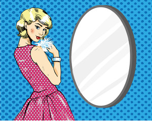 Beautiful Woman in front of mirror. Vector illustration in comics retro pop art style