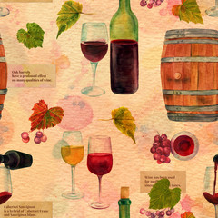 Seamless watercolor wine pattern with drawings and texts