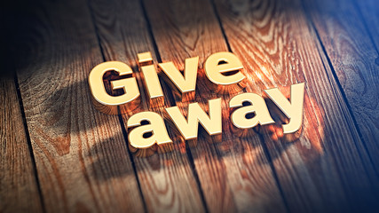 Word Giveaway on wood planks