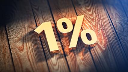 Number 1% on wood planks