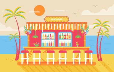 illustration of happy sunny summer day beach, bar counter, barstools for recreation on island, bright sun, palm trees in flat style