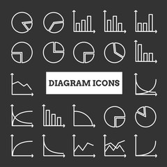 Collection of linear diagram icons