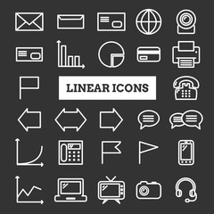 Collection of linear web icons: business, media, communication