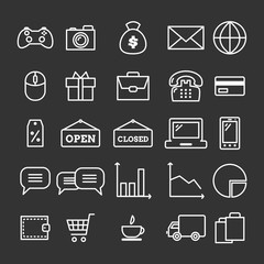 Collection of linear web icons: business, media, on-line trade