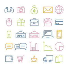 Set of linear web icons: business, media, on-line trade