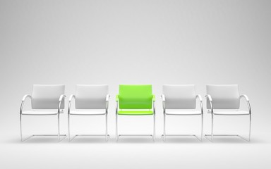 One different green chair in 3D render of modern waiting room