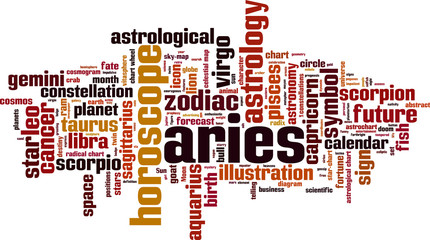 Aries word cloud concept. Vector illustration