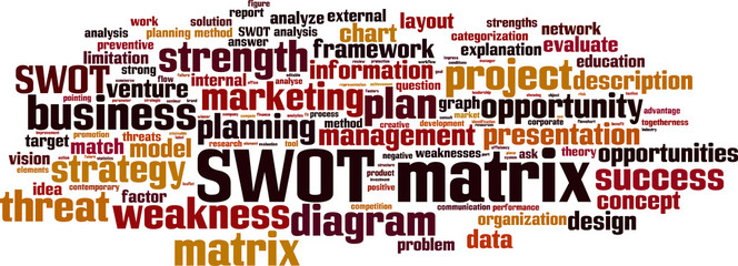 SWOT matrix word cloud concept. Vector illustration
