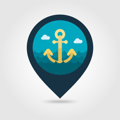 Anchor pin map icon. Summer. Vacation