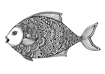Hand drawn ornate doodle graphic black and white fish.