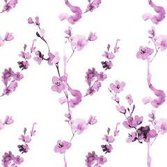 ink seamless pattern with plum blossom in the Japanese style of sumi-e on a white background