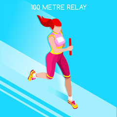 Running Women Relay of Athletic Summer Games Icon Set.Speed Concept.3D Isometric Athlete.Sport of Athletics.Sporting Competition Race Runner.Sport Infographic Track Field Vector Illustration.
