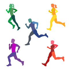 Set of runners. Silhouettes of running people. All parts of body separately. Colorful vector illustration.