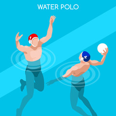 Swimming Water Polo Players Summer Games Icon Set.3D Isometric Swimmer Player.Water Polo Sporting Competition Race.Sport Infographic Swimming Water Polo Vector Illustration