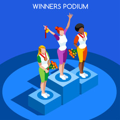 Winner Podium Summer Games Icon Set.Speed Concept.3D Isometric Athlete.Sporting Competition.Sport Infographic Winner Podium Vector Illustration.